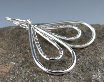 Textured Sterling Silver Double Teardrop Earrings