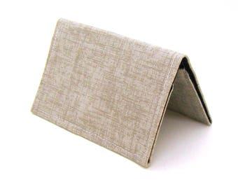 Mini Wallet / Card Holder / Business Card Holder / Card Case / Gift Card Holder/ Small Wallet - Caramel Tan Twill
