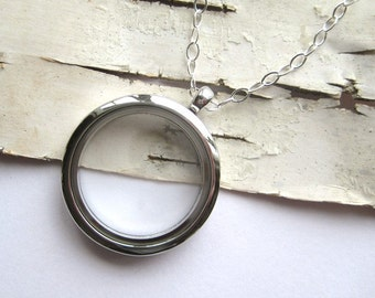 LARGE or SMALL Clear Glass Memory Locket, fill with  photo keepsakes, memorial, rememberance - 22/24 inch sterling chain