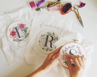 Any Three Floral Monogram Embroidery Kits - Personalized Gift, DIY