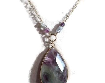 Fluorite Necklace - Purple Green Gemstone Jewellery - Gold Chain Jewelry - Pendant - Multicolor