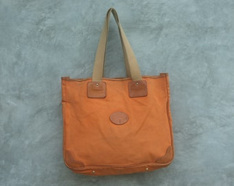 Vintage Tote canvas Tote bag tote canvas and Genuine leather made in Japanese canvas color Orange Handmade in japan Shoichi Watanabe