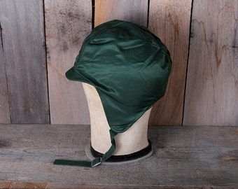 1950s Era Child Toddler Green Satin Fleece Lined Winter Hat with Chin Strap