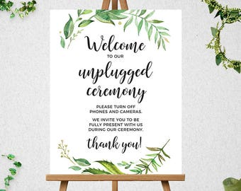Greenery Welcome to our Unplugged Ceremony Sign // Printable // unplugged wedding  // 16x20 // 18x24 // 20x24 // 24x36  // #PBP86