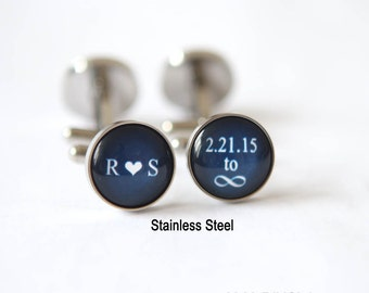 Infinity Wedding Gift for Groom Gift, Navy Blue Wedding Cufflinks Initials, Custom wedding date to infinity sign Custom Color Custom Quote