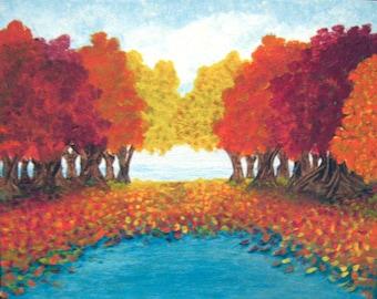 AUTUMN POND Original Acrylic Painting Fall Leaves