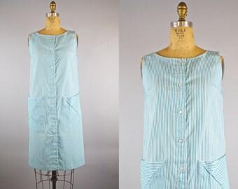 Runaround Dress / 60s Dress /  Blue White Stripe Dress
