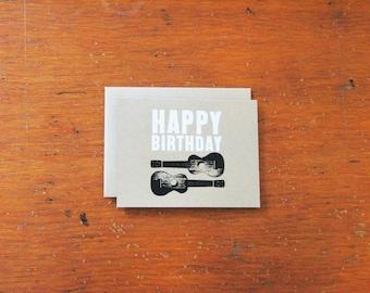 Ukulele Screenprinted greeting card: Happy Birthday Two Uke - White