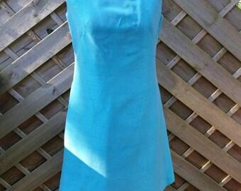 60s vintage shift dress funnel neck mini dress blue
