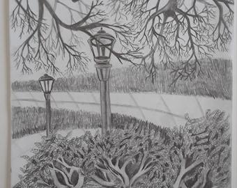 ORIGINAL Graphite Landscape drawing