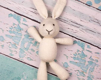White Bunny Doll, Merino Wool Toy, Knit Toy, Cute Soft Toy, Handmade Toy, Bunny Photo Prop, Baby Gift, Animal Toy, Knit Stuffed Animal