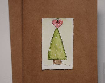 Hand Painted Watercolor Christmas Tree Greeting Card on Kraft Paper