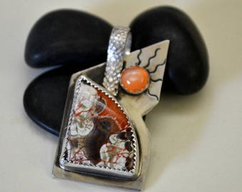 """Sterling silver flowering jasper pendant necklace with peach moonstone.  """"Fearless"""""""