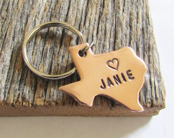 State Keychain Texas Key Chain Texas Keyring Long Distance Relationship Keychain Friend Keychains Going Away to College Gift for Girlfriend
