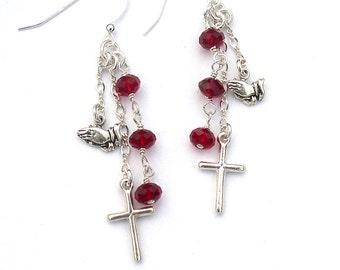 Sterling Silver Cross Earrings Dangle Praying Hands Christian Gift for Women