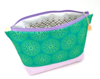 Teal Haze Geometric Large Zipper Pouch, Circles Recycled Canvas Cosmetic Bag, Travel Organizer, Eco Make Up Bag, Glass Bead Tassel, Handmade