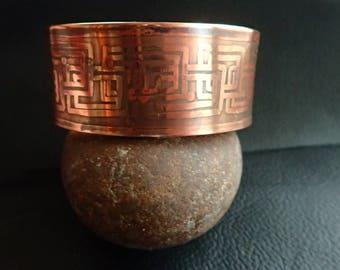 Heavy Copper cuff bracelet, acid etched.