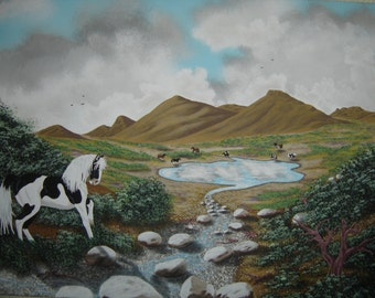 Original Acrylic Painting on canvas, Horses in the wild