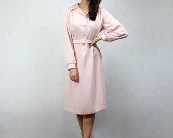 Pale Pink Dress Long Sleeve Collared Shirt Dress Pockets Womens Shirtdress Simple Minimalist Office Dress - Extra Large XL