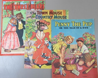 """Saalfield 1940's Childrens Books - 3 - 13"""" x 10"""" Cloth-Like Books - Penny the Pup, Town Country Mouse, Three Bears"""