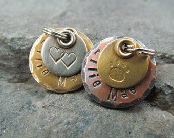 Dog tag - Pet tag - Pet Id Tag- Copper, Nickel/Silver, Brass - Hand stamped Engraved Personalized