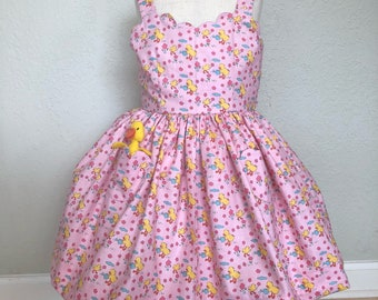 Sunny Ducklings Sundress size 3T with a Pocket Duckling