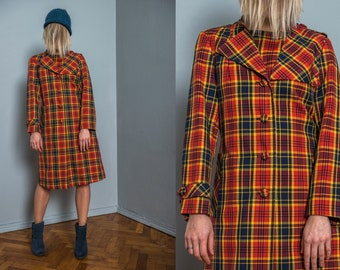 Check vintage coat | 60s tartan trench | bright color | spring | women | modern | long | A line | belted