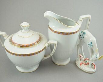 Vintage porcelain Art Deco milk jug and sugar bowl, large, Jaaeger & Co, mid centruy, Rothschild