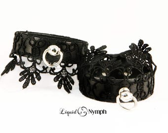 Patrice Black Leather With Filagree Lace ORing BDSM Bondage Fetish Cuffs - Submissive Fancy Bracelets - BDSM Kitten Play Wrist Cuffs - DDLg