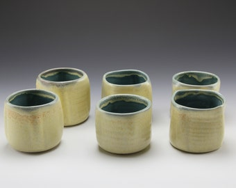 Yellow and teal blue tumblers.  Set of 6 handmade porcelain tumblers.