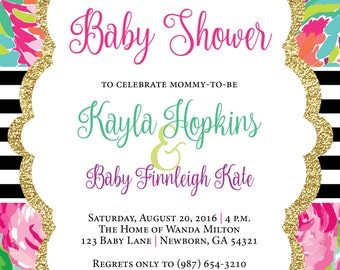 Lilly Pulitzer Invitation, Baby Shower Invitation, Floral Baby Shower Invitation, Floral Invitation, Baby Girl Shower Invitation