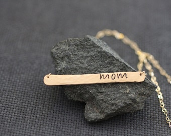 mom necklace, mothers day necklace, name bar, gold bar, silver bar, initial bar, hammered texture, expectant mother, pregnancy gift, N47