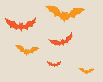 vampire bats in flight Halloween vinyl wall decal set