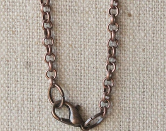 Copper chain necklace choose 14 inch - 36 inch antiqued copper plated chain round link 3mm MEDIUM rolo chain copper necklace chain SF238