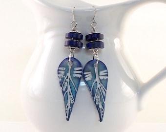 Handmade Polymer Clay Earrings, Dark Blue Lapis Earrings, Lightweight Earrings, Lapis Earrings, Silver Earrings, Boho Earrings, Long, AE021