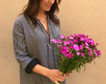 Cotton gingham pullover tunic