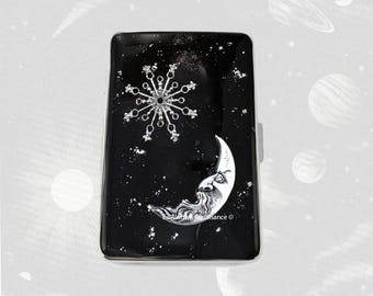 Moon and Star Metal Cigarette Case Silver Inlaid in Hand Painted Black Enamel with Silver Splash Design with Color and Personalized Options