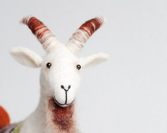 Felt Goat - Friedrich. Felted Animal, Art Toy Marionette for kids, Simple Puppet, Stuffed soft plush Animals. white, red green.