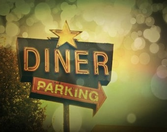 Vintage Retro Diner Sign Photography Retro Diner Photo Diner Photography Vintage Diner Art Kitchen Decor Old Sign Photography Diner Decor