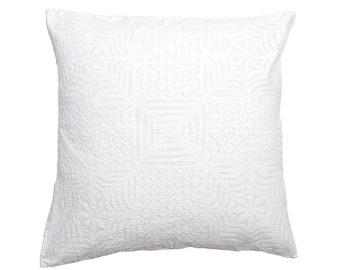 Cushion Cover - White Cotton Back Applique - Design 8