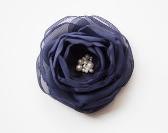 Very Dark Navy Blue Bridal or Bridesmaid Hair Flower - Hair Clip or Brooch