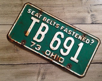 Vintage Ohio License Plate 1973 | White Green Rusty | Man Cave Decor | Old Collectible | For Him | Garage