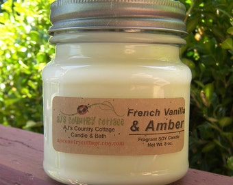 FRENCH VANILLA AMBER SoY Candle - Vanilla Candles, Soy Candles, Amber Candles, Scented Candles, Sandalwood Candles, Patchouli Candles Earthy