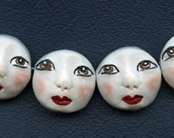 4 White Polymer Detailed  Asian Face  Beads Side drilled WAB 4