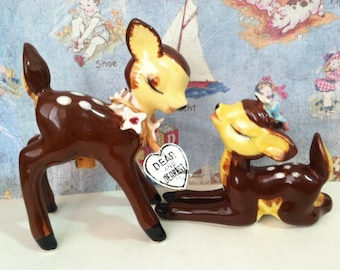 FREE SHIPPING Very Rare New Old Stock Kissing Fawn Deer Salt & Pepper Shakers Vintage Antique Napco Collectibles or Cake Toppers