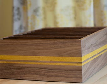 Wood File Box – File Organizer in Walnut Wood