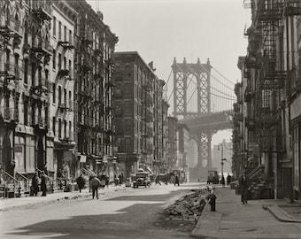 Pike and Henry Streets - New York City - 1935 - Vintage - Photo - Manhattan - Photography - NYC - Brooklyn Bridge - History - Print - Art