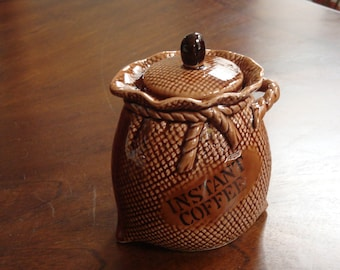 Kitschy Porcelain COFFEE BEAN BAG Instant Coffee Canister!