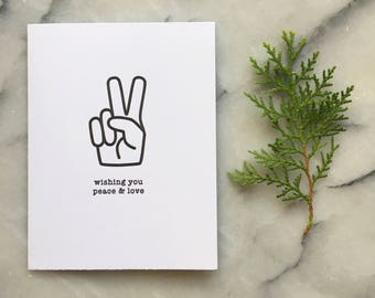 Minimalist Peace and Love Holiday, Single Card