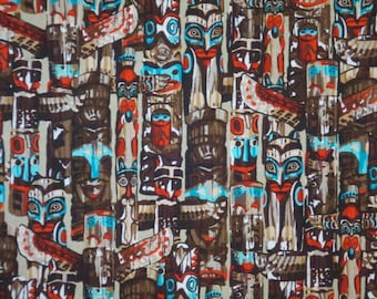 SPECIAL--Totem Print Pure Cotton Fabric from Benartex--One Yard